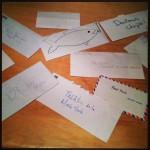 enveloppes contenant les sous, personnalisées par les spectateurs